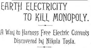 Articolo di Tesla  energia della terra