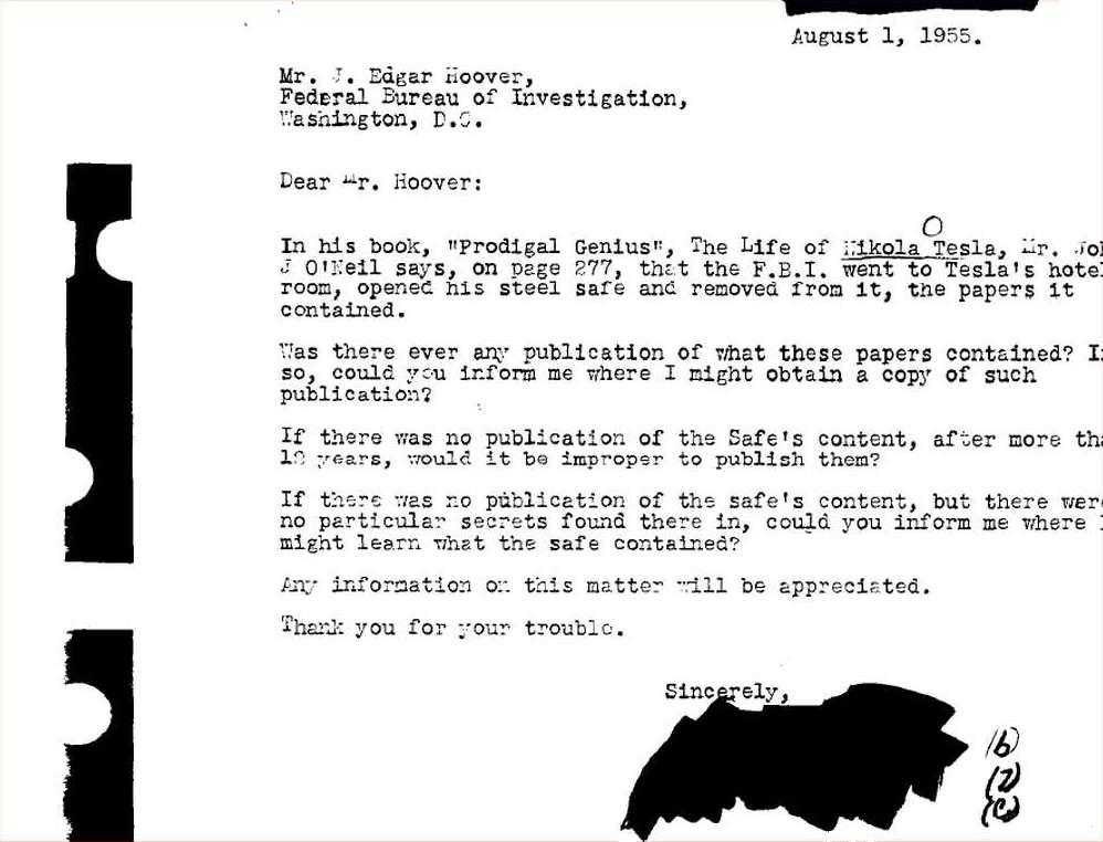 Lettera all'FBI riguardo al libro Prodigal Genius – La vita di Nikola Tesla